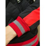Color Block Spliced Stand Collar Waviness Cotton Padded Jacket photo