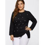 cheap Beaded Plus Size Pullover Sweater