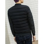 Stand Collar PU Leather Applique Cotton Padded Jacket deal