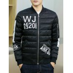 Stand Collar Graphic Printed Cotton Padded Jacket