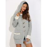 cheap Horn Button Cable Knit Cardigan