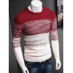 cheap Plus Size Color Block Ombre Spliced Long Sleeve Sweater