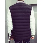 cheap Striped Collar Color Block Panel Quilted Jacket