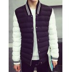 Striped Collar Color Block Panel Quilted Jacket