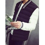 Striped Collar Color Block Panel Quilted Jacket deal