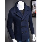 cheap Turndown Collar Double Breasted Woolen Coat