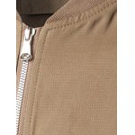 Stand Collar Zippered Pockets Rib Cuff Coat deal