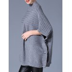 cheap High Neck Loose Side Button Design Cape Sweater