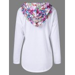 cheap Floral Print Plus Size Pullover Hoodie