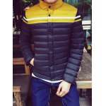 cheap Funnel Neck Color Block Zipper Padded Jacket