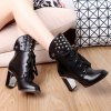 cheap Punk Studded Chunky Heel Boots