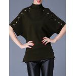 Batwing Sleeve Side Slit Metal Button Embellised Sweater