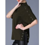 cheap Batwing Sleeve Side Slit Metal Button Embellised Sweater