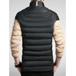 cheap Striped Color Block Zip Up Padded Jacket