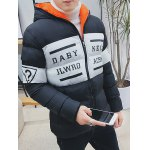 Letter Printed Zip Up Hooded Quilted Jacket