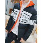 cheap Letter Printed Zip Up Hooded Quilted Jacket