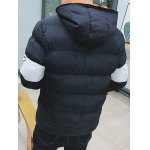 Letter Printed Zip Up Hooded Quilted Jacket deal