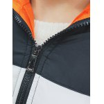 Letter Printed Zip Up Hooded Quilted Jacket for sale