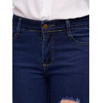 Distressed Stretchy Pocket Design Jeans photo