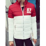 67 Printed Color Block Zip Up Padded Jacket