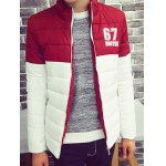 cheap 67 Printed Color Block Zip Up Padded Jacket