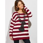 cheap Christmas Button Back Striped Sweater