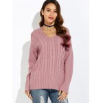 cheap V Neck Drop Shoulder Pullover Cable Knit Sweater