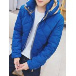 Color Block Zip Up Hooded Padded Jacket for sale