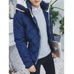 cheap Color Block Zip Up Hooded Padded Jacket