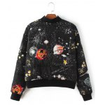 cheap Starry Sky Print Quilted Jacket