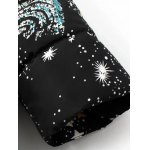 best Slim Starry Sky Print Quilted Coat