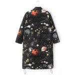 cheap Slim Starry Sky Print Quilted Coat