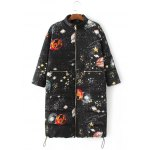 Slim Starry Sky Print Quilted Coat