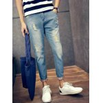 Slim Fit Zipper Fly Jeans with Broken Hole for sale