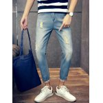 Slim Fit Zipper Fly Jeans with Broken Hole deal