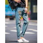 Slim Fit Zip Fly Jogger Jeans with Broken Hole deal