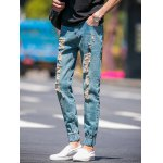 cheap Slim Fit Zip Fly Jogger Jeans with Broken Hole