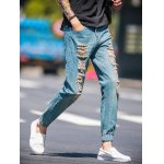 Slim Fit Zip Fly Jogger Jeans with Broken Hole for sale