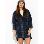 High Low Checked Wool Coat for sale