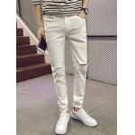 Skinny Zipper Fly Jeans with Knee Rips