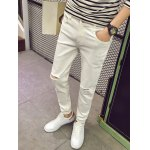cheap Skinny Zipper Fly Jeans with Knee Rips