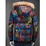 Zip Up Printed Quilted Jacket with Fur Trim Hood deal
