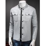 cheap Stand Collar Button Up Front Pocket Jacket