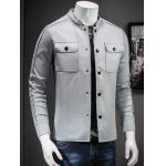 Stand Collar Button Up Front Pocket Jacket deal