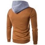 cheap Color Block Splicing Zip-Up Hooded Hoodie