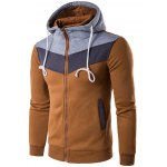 Color Block Splicing Zip-Up Hooded Hoodie