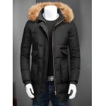 Zip Up Padded Coat with Fur Trim Hood