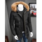 cheap Zip Up Padded Coat with Fur Trim Hood