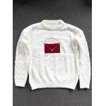 cheap Crew Neck Patched Faux Pearl Sweater