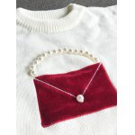 Crew Neck Patched Faux Pearl Sweater for sale